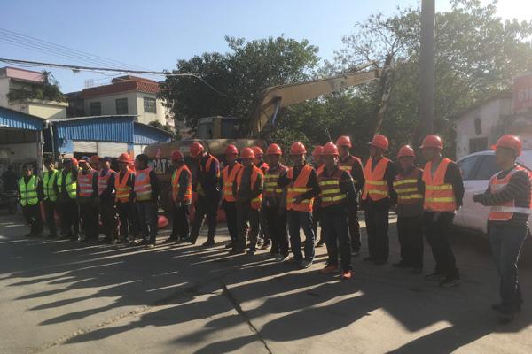 新葡新京在顺德古鉴涌项目现场召开施工生产动员大会